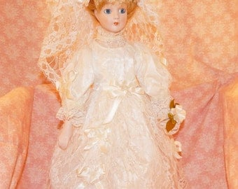 16'' Bride Doll with Blonde Hair and Blue Eyes ,1970s,Lace Dress and Leather Boots