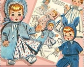 SALE TINY 4-5 inch Baby Doll 12 pc Layette Doll Clothes Vintage e-Pattern