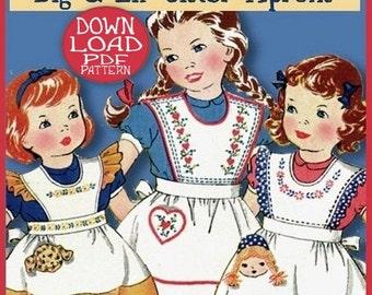 APRON  PDF pattern Little Girl aprons - 3 styles - 3 Sizes  Fun Pockets - e-pattern PDF - So Sweet