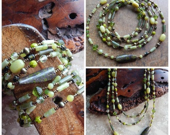 Multistrand necklace, beaded wrap bracelet, statement necklace,green, pearl, extra long necklace,ethnic, tribal style, versatile jewelry