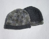 Newborn Twin Baby Hats, Gray Baby Boy Beanie Caps, Home from the Hospital Caps by Charlene, Infant Photo Props, Two Charcoal Gray Hats
