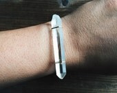 Quartz Gemstone Bangle Bracelet Handmade by Rana Salame in Indiana ooak Healing Crystal Bracelet One Bracelet Unique quartz Cuff jewelry