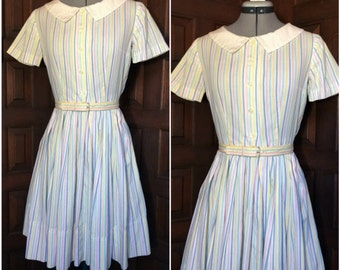 Pastel Stripes 1950s Dress Size Small