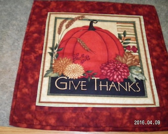 Rust Give Thanks Pumpkins  15 1/2  X 15 1/2  Table Runner Topper