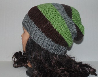 Slouchy Beanie Hat, Brown, Gray and Sage Knit Slouchy Hat, Mens Accessories, Hipster Hat, Striped Hat