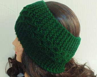 Emerald Green Knit Head Band, Womans Headband, Dark Green EarWarmers, Wide Headband, Winter Earwarmer, Headband for Woman, MADE TO ORDER
