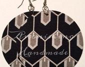 Clearance - Black & Grey Geometric Circle Fabric Large Earrings