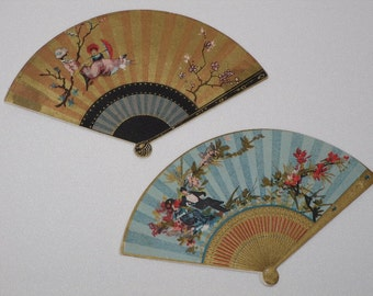 Two Antique Fan Shaped Trade Cards 1880's