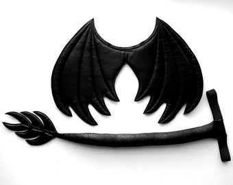 Black Dragon Wings and Tail set, wire free, Halloween costume, kids dress up wings, cosplay dragon, photography prop