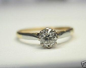 Antique Diamond Platinum Yellow Gold Engagement Ring | RE: 580