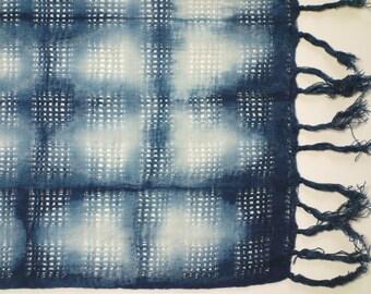 Indigo shibori cotton table mat