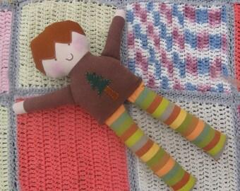 Boy rag doll/soft cloth doll, boy fabric doll, boy waldorf inspired doll