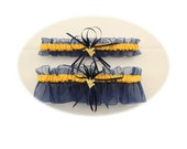 Wedding Garter Set with West Virginia University Themed Colors and Charms  (Your Choice, Single or Set)
