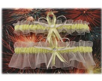 White and Light Yellow Wedding Garter Set, Bridal Garters  (Your Choice, Single or Set)