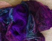 "Hand dyed Extra large  Silk Gauze  Scarf 40""X70""(Perfect  for Nuno Felting)"
