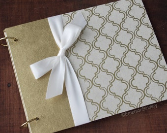 Gold Wedding Guest Book with Removable Pages, Gold and Ivory Moroccan Print, {MADE upon ORDER}