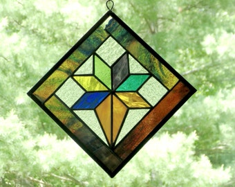 Quilt block suncatcher, stained glass suncatcher panel, flower bouquet, quilt studio decor, colorful suncatcher, flower quilt block