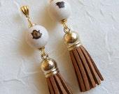Brazilian Paxiubão Seeds and Camel Suede Tassel Earrings