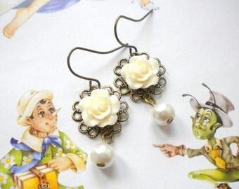 Little Girl Earrings Ivory Bridesmaid Earrings Flower Girl Pearl Earrings Ivory Dangle Earrings Flower Girl Jewelry Ivory Kid Earrings