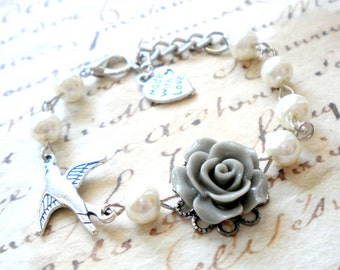 Little Girl Wedding Jewelry Grey Rose Bracelet Pearl Childred Jewelry Flower Girl Bracelet Gift For Flower Girl Romantic Pearl Kid Bracelet