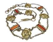 Art Deco Belt, Czech, Amber Glass, Roman Warrior, Gilt Gold Brass, Flapper Era, Antique Accessories