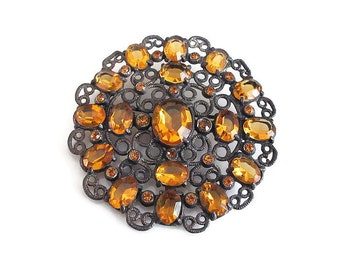 "Art Deco Brooch Amber Glass Filigree Large - Silver Tone Metal, Art Deco Brooch, Art Deco Jewelry, Vintage Brooch, Vintage Jewelry, 2"" Wide"