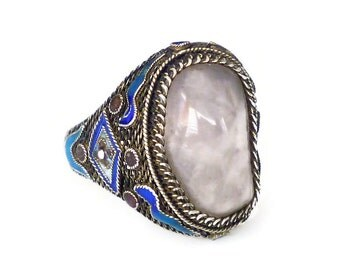 Chinese Silver Rose Quartz Enamel Ring - Chinese Export, Made in China, Vintage Jewelry, Vintage Ring, Size 7.5