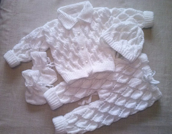 Baby Boy Christening Outfit Knitting Pattern : Knitted layette Baptism boys christening outfits White