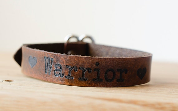 Love Warrior Wide Adjustable Leather Single Wrap Bracelet with Custom Text