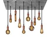 Pendant Light Reclaimed Wood Chandelier - Grey Rustic Chandelier - Urban Chandelier - Modern Wooden Dining chandelier - Copper Chandelier