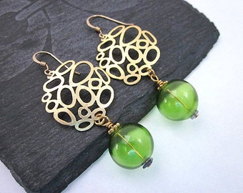 Gold & Glass Bead Earrings -- Lime Green Earrings -- Lime Drops -- Glass Bubble Earrings -- Gold and Lime Earrings -- Blown Glass Dangles