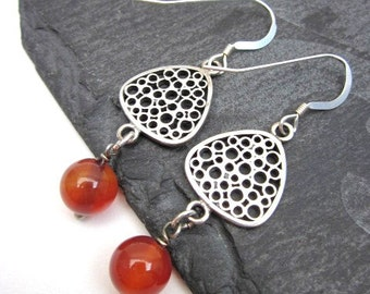 Agate Dangle Earrings -- Sterling & Orange Earrings -- Red Agate Earrings -- Triangle Dangles -- Orange Bead Earrings -- Triangle Earrings