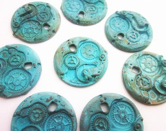 Blue Metal Pendants -- Patina Pendant Supply -- Steampunk Gear Supply -- Metal Round Discs -- Verdigris Charm -- Steampunk Components