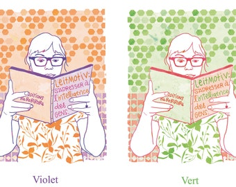 Woman reading illustration print