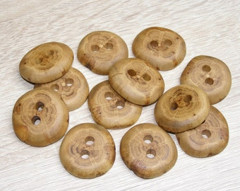 "12 Handmade  oak wood buttons, accessories (1,25"" diameter x 0,28"" thick)"