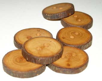 """7 Handmade apple wood Tree Branch Buttons with Bark, accessories (1,18"""" diameter x 0,20"""" thick)"""