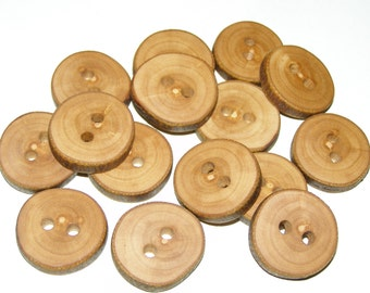 """15 Handmade apple wood Tree Branch Buttons with Bark, accessories (1,0"""" diameter x 0,20"""" thick)"""