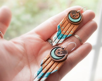 Crescent Moon and Shooting Star Fringe Leather Earrings - Handmade and Hand Painted Suede Jewelry - Mesa Dreams - Turquoise Southwestern