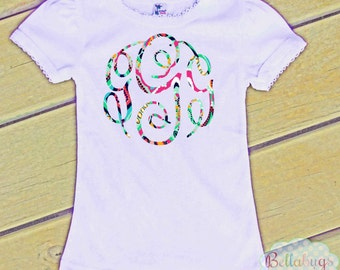 Lilly Pulitzer Inspired Monogram Bodysuit or Tshirt - Personalized shirt