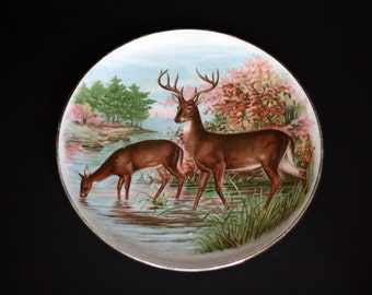 vintage dresden china deer plate