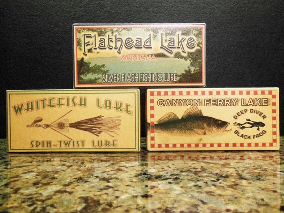 lake house decor Flathead Canyon Ferry Whitefish Lake Montana fishing lure boxes make great cabin decorations