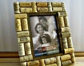 "Rustic Wine Cork Picture Frame - 5"" x 7"" Photo Opening - Wedding, Vacation, Birthday, Anniversary, Family"