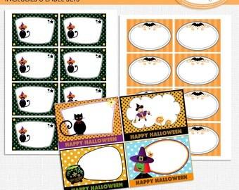 Halloween task cards, Halloween labels, Halloween gift tags, Halloween party decor, Halloween cards, Halloween thank you notes Pr 314