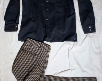 Vtg 80s Costume Suit with Levis Indigo Poly Jacket size L With Plaid 35 X 31 Flared leg Pants (40 % DISCOUNT APPLIED)