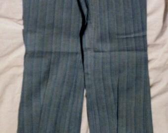 Vintage A-1 Action Man Gray Striped pattern Talon zip fly Polycotton 28 X 31 Straight Leg Slack Pants (50 % DISCOUNT APPLIED)