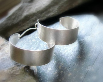 "Sterling Silver Hoop earrings, H2, - Sm-1""/Med-1.5""/Lrg-2""/Ex Lrg-2.5"". Reclaimed Silver Modern ""Basket"" Hoops with a Brushed, Satin Texture"