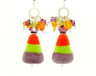 Candy Corn Earrings, Halloween Earrings, Lampwork Earrings, Glass Earrings, Cute Earrings, Halloween Jewelry, Food Earrings, Dangle Earrings