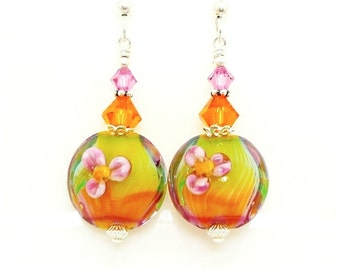 Colorful Floral Earrings, Lampwork Earrings, Glass Earrings, Glass Bead Earrings, Beadwork Earrings, Flower Earrings, Lampwork Jewelry