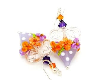 Purple and Orange Floral Heart Earrings, Valentine Earrings, Lampwork Earrings, Polka Dot Earrings, Glass Bead Earrings, Beadwork Earrings