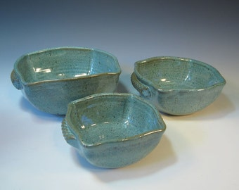 Frosty Aqua Serving Bowls with Textured Handles - Set of Three -  Ready to Ship